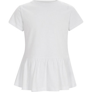 Girls white short sleeve peplum T-shirt