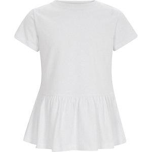 Wit T-shirt met korte mouwen en peplum voor meisjes