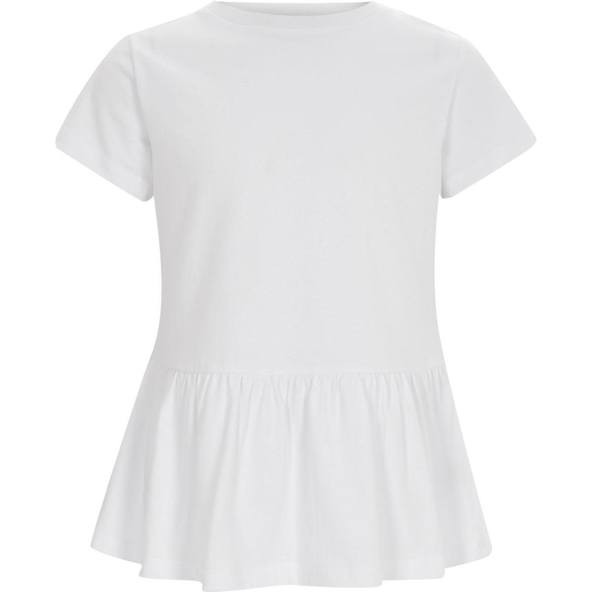 Girls white short sleeve peplum T-shirt