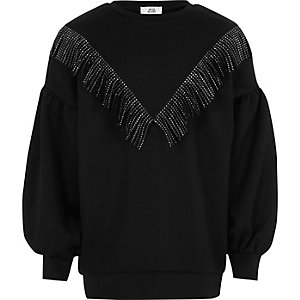 Girls black studded fringe V sweatshirt