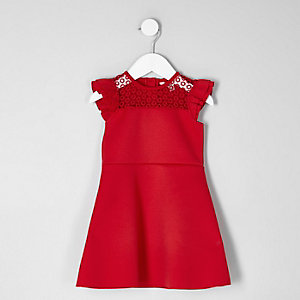 Mini girls red lace frill shoulder dress