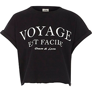 Girls black 'voyage' print cropped T-shirt