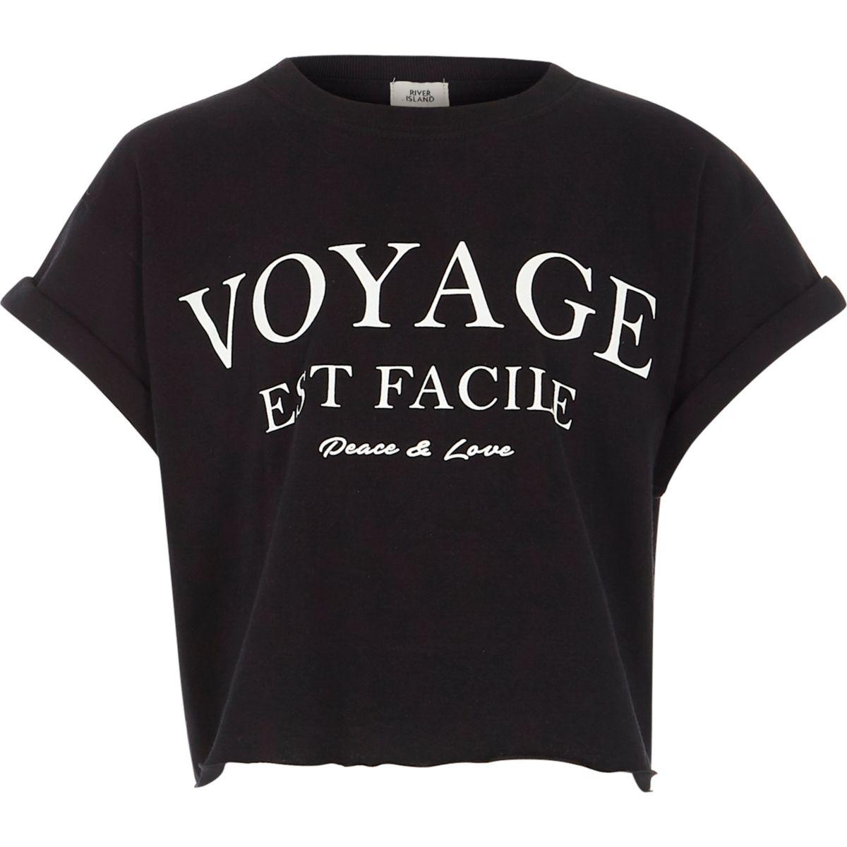 Girls black 'voyage' print cropped T-shirt