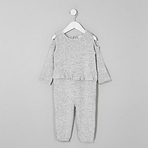 Mini girls grey cold shoulder frill jumpsuit