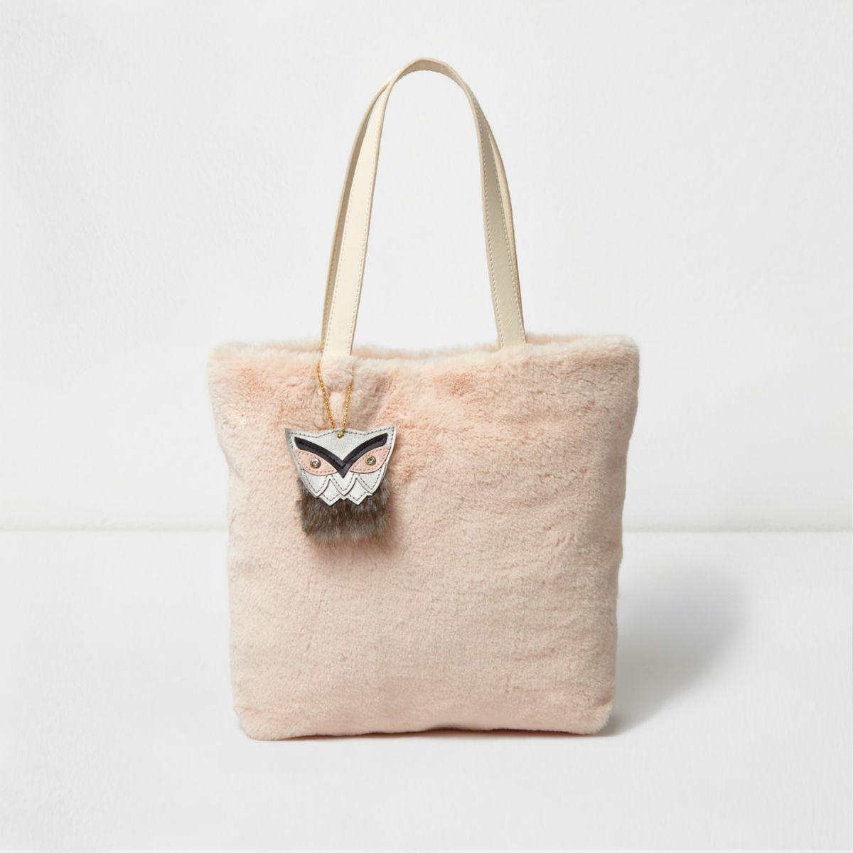 Girls light pink faux fur shopper bag