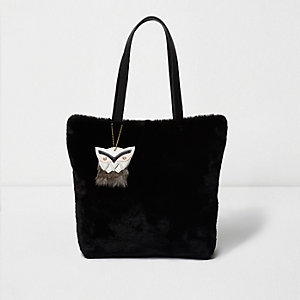 Girls black faux fur shopper bag