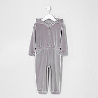 Mini girls lilac velour hooded jumpsuit
