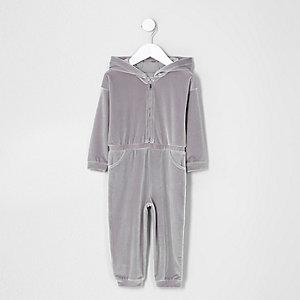 Mini - Lila velours jumpsuit met capuchon voor meisjes