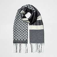 Girls grey mono mixed print scarf