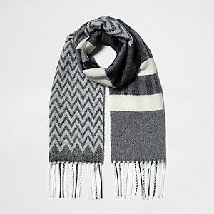 Grijze sjaal met zwart-witte print voor meisjes
