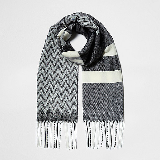 Girls grey mono mixed print scarf