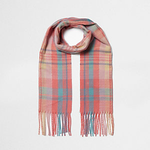 Girls coral check knit scarf