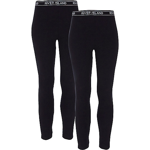Girls black leggings pack