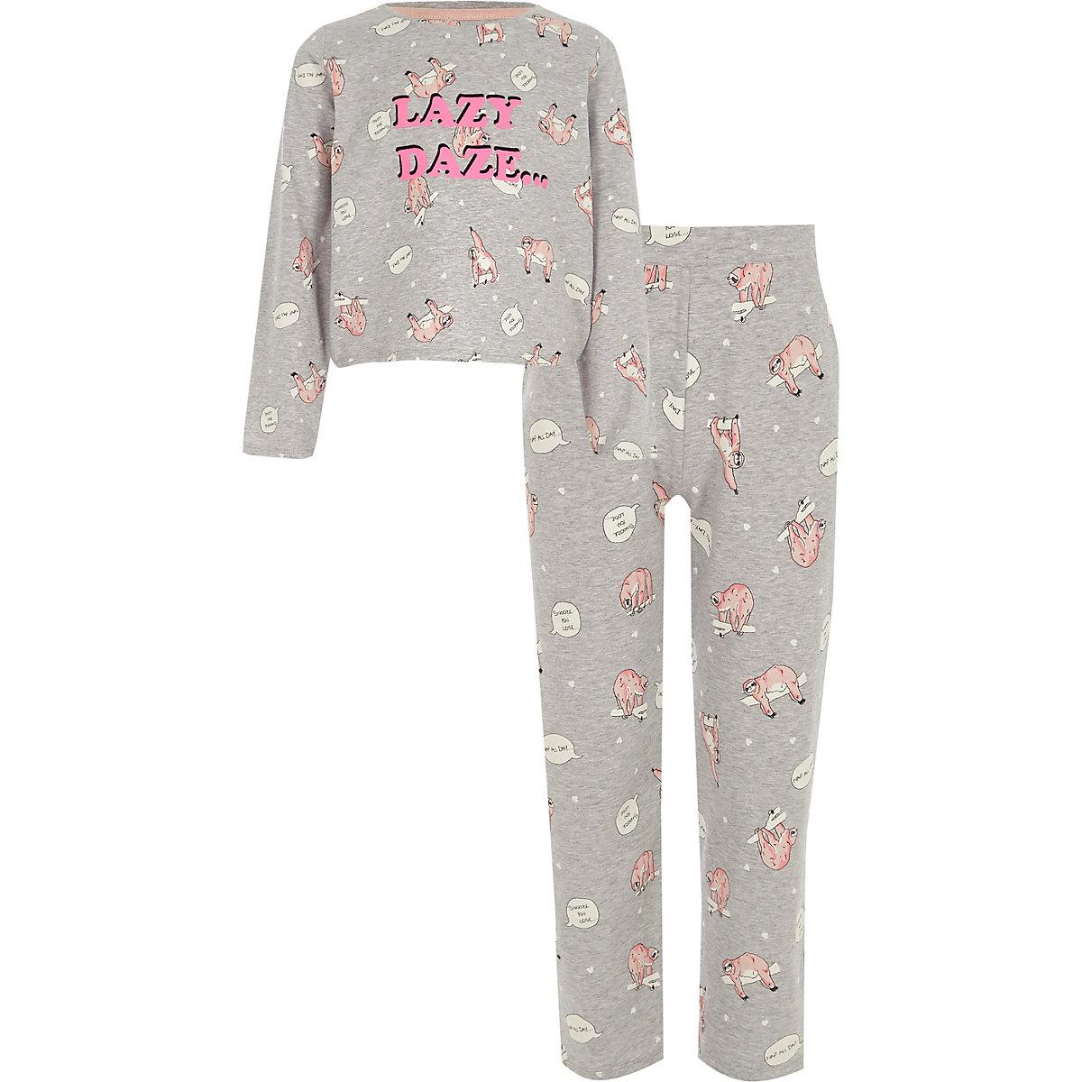 Girls grey 'lazy' sloth print pajama set