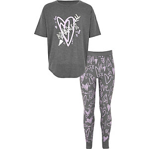 Girls grey graffiti print pajama set