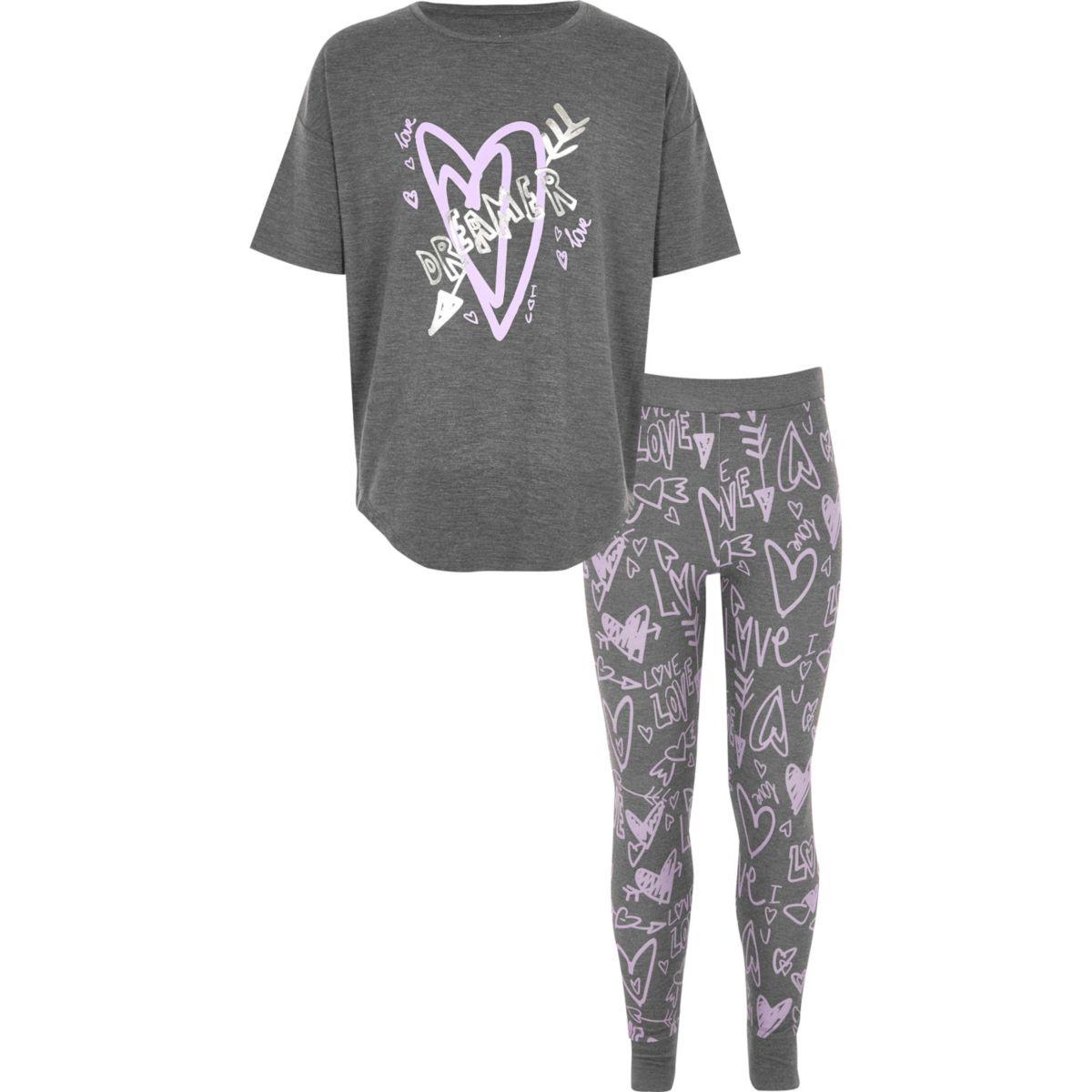 Pyjama gris à imprimé graffiti pour fille