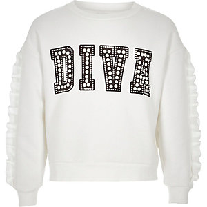 Girls white 'diva' embellished sweatshirt