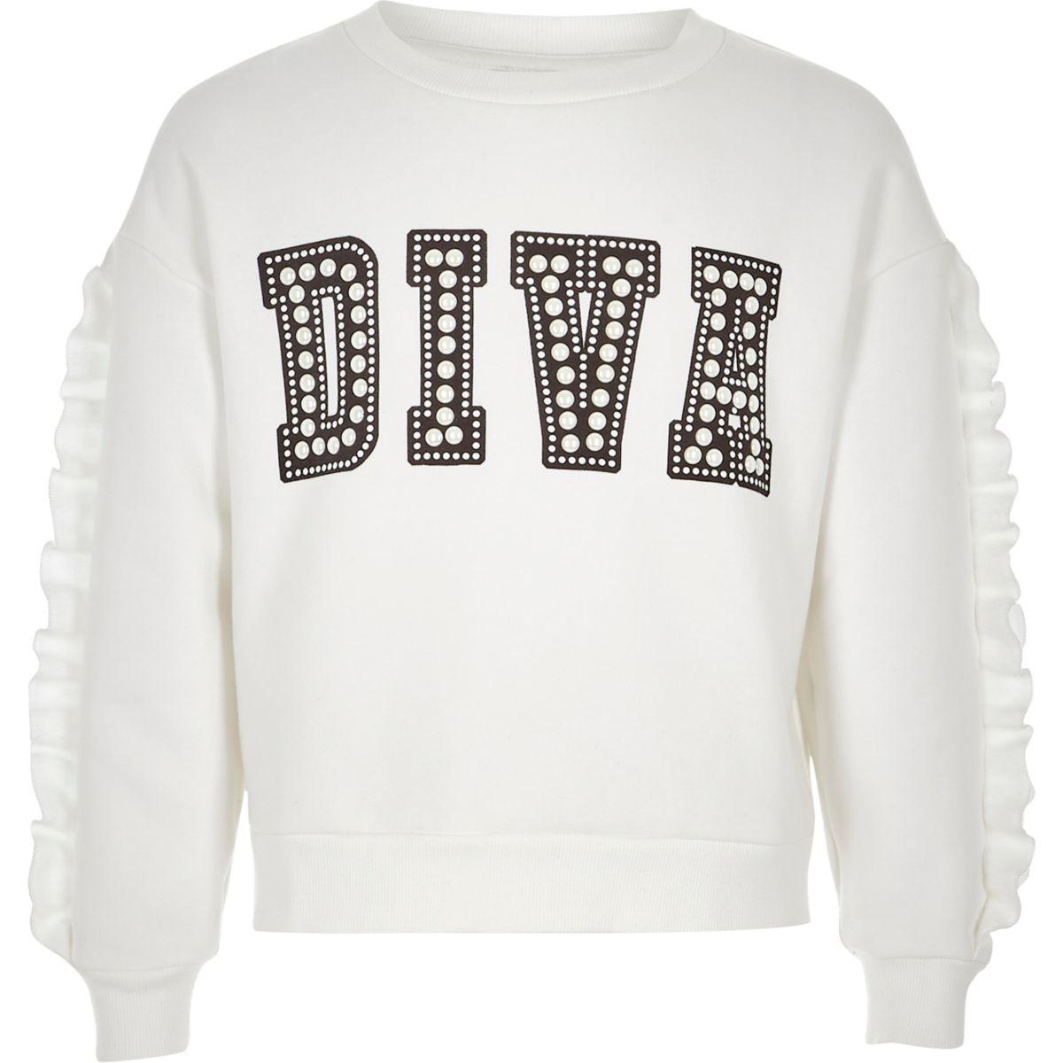 Girls white 'diva' embellished sweatshirt