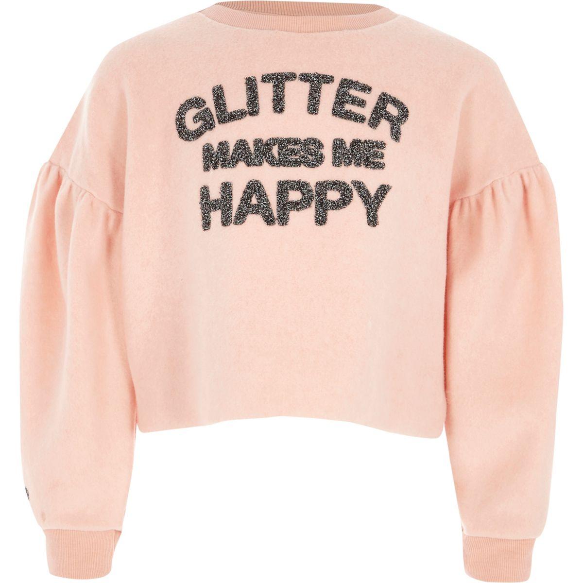 Girls 'glitter makes me happy' sweatshirt