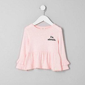 Mini - Roze gebreide top met 'I'm adorable'-print en ruches voor meisjes
