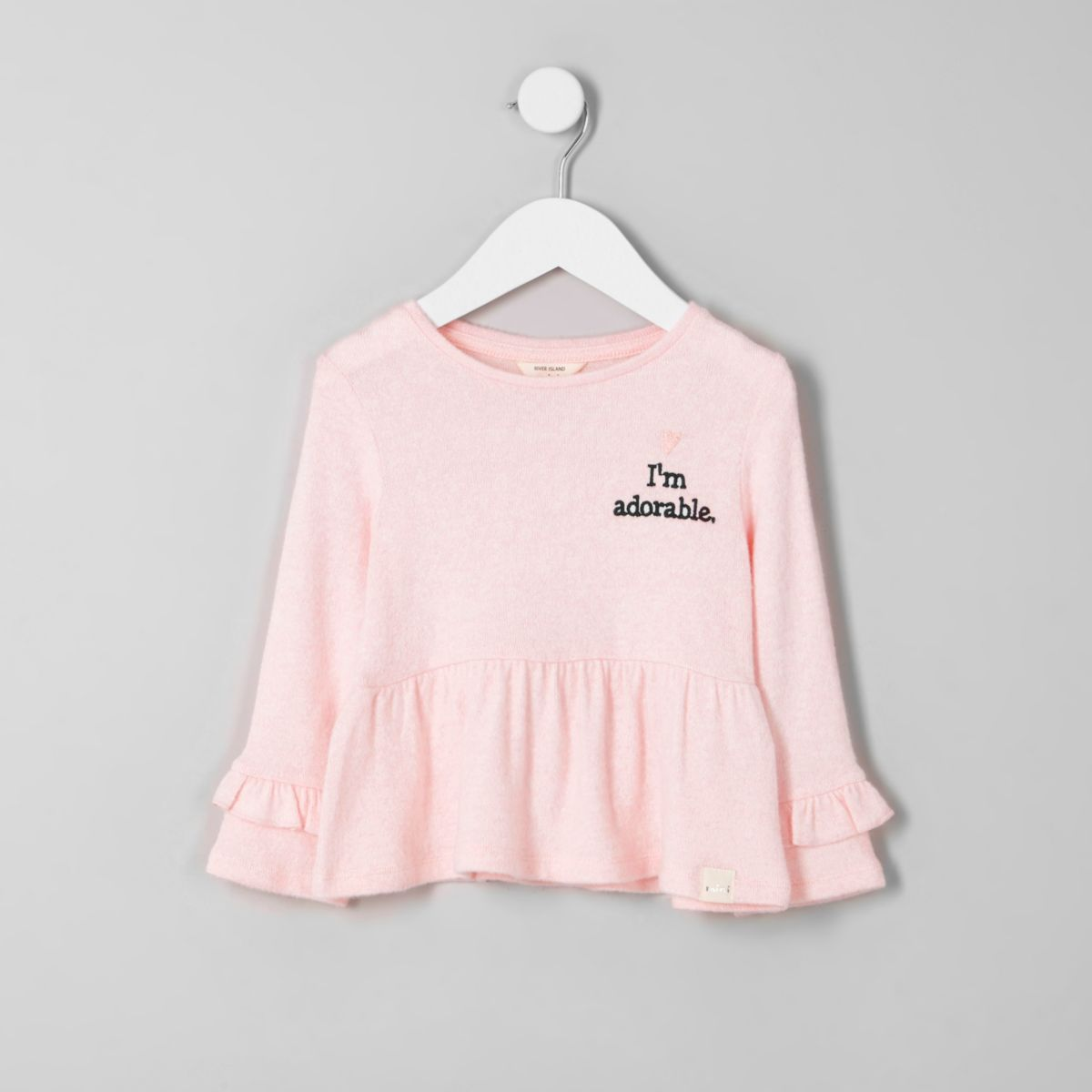 Mini girls pink 'I'm adorable' frill knit top