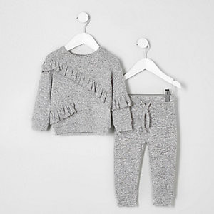 Ensemble pantalon de jogging et sweat gris mini fille