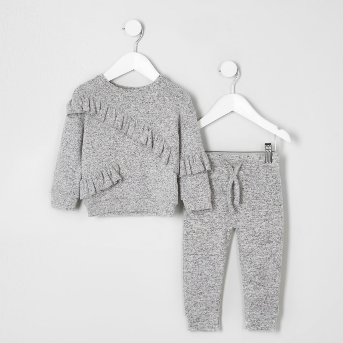 Mini girls grey sweatshirt and joggers outfit