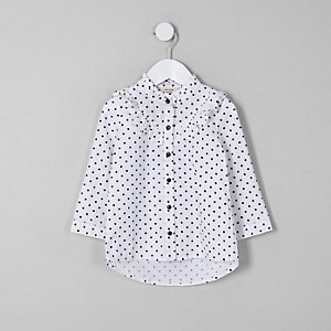 Mini girls white polka dot frill shirt
