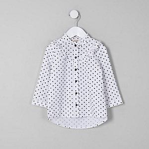 Mini - Wit overhemd met stippen en ruches voor meisjes
