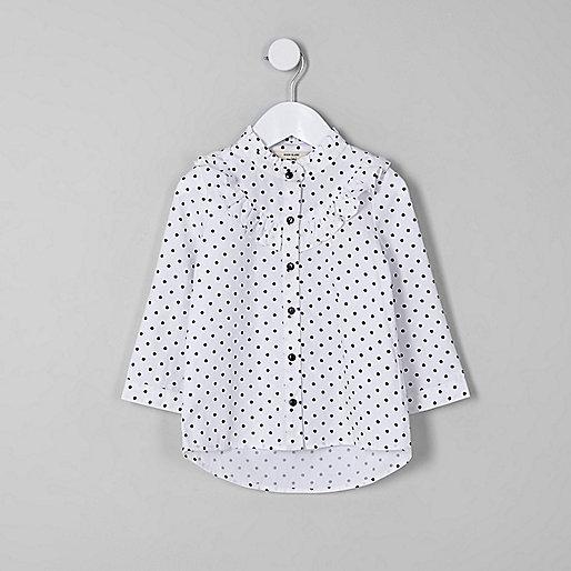Mini girls white polka dot frill shirt