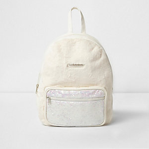 Girls cream faux fur front sequin backpack