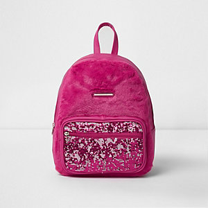 Roze rugzak met lovertjes en imitatiebont op de voorkant voor meisjes