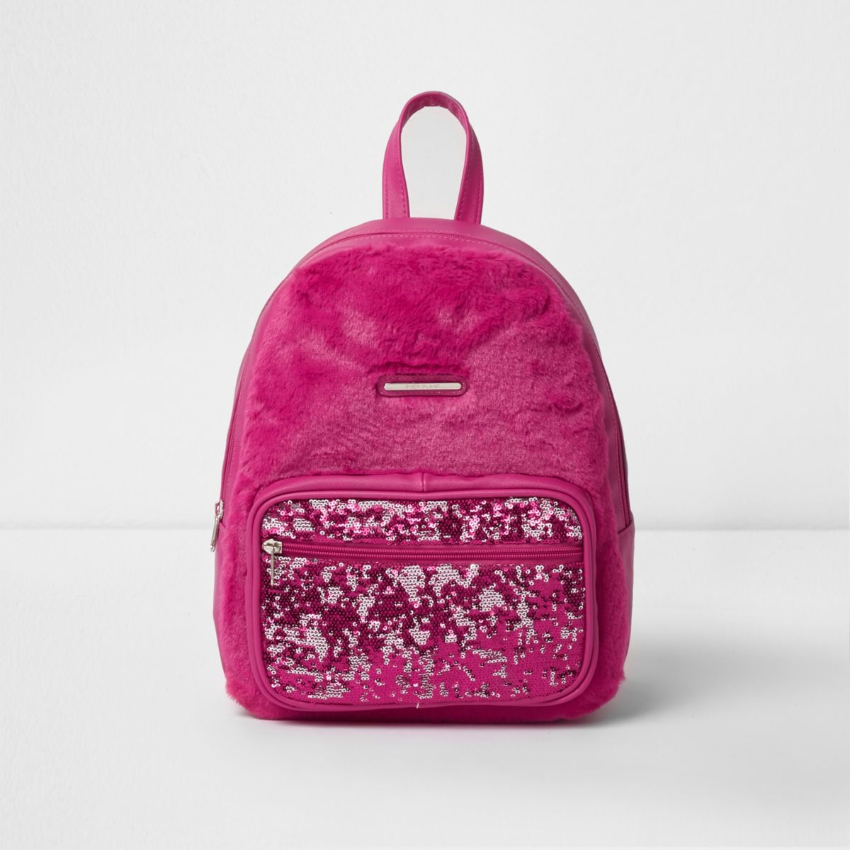 Girls pink faux fur front sequin backpack