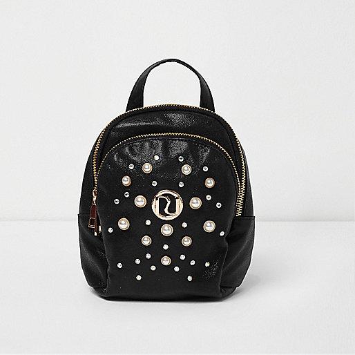 Girls black glitter faux pearl small backpack