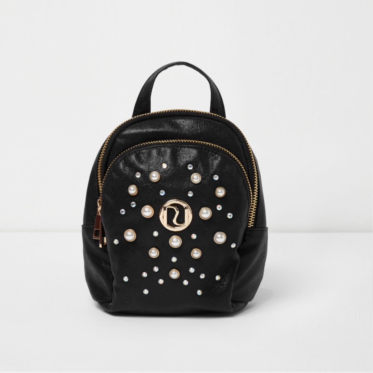 Girls black glitter faux pearl small backpack