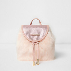 Girls pink faux fur glitter backpack