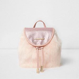 Roze rugzak met imitatiebont en glitter voor meisjes