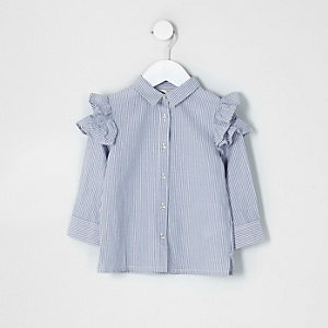 Mini girls grey stripe frill shoulder shirt
