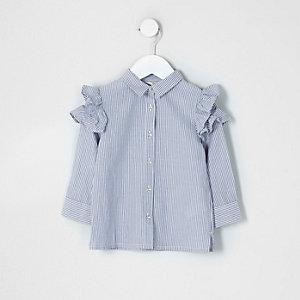 Mini - Grijs gestreept overhemd met ruches op de schouders voor meisjes