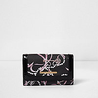Girls black key and pearl print large purse