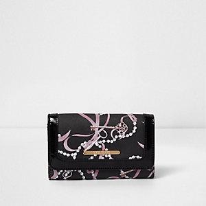 Zwarte grote portemonnee met sleutel- en parelprint voor meisjes