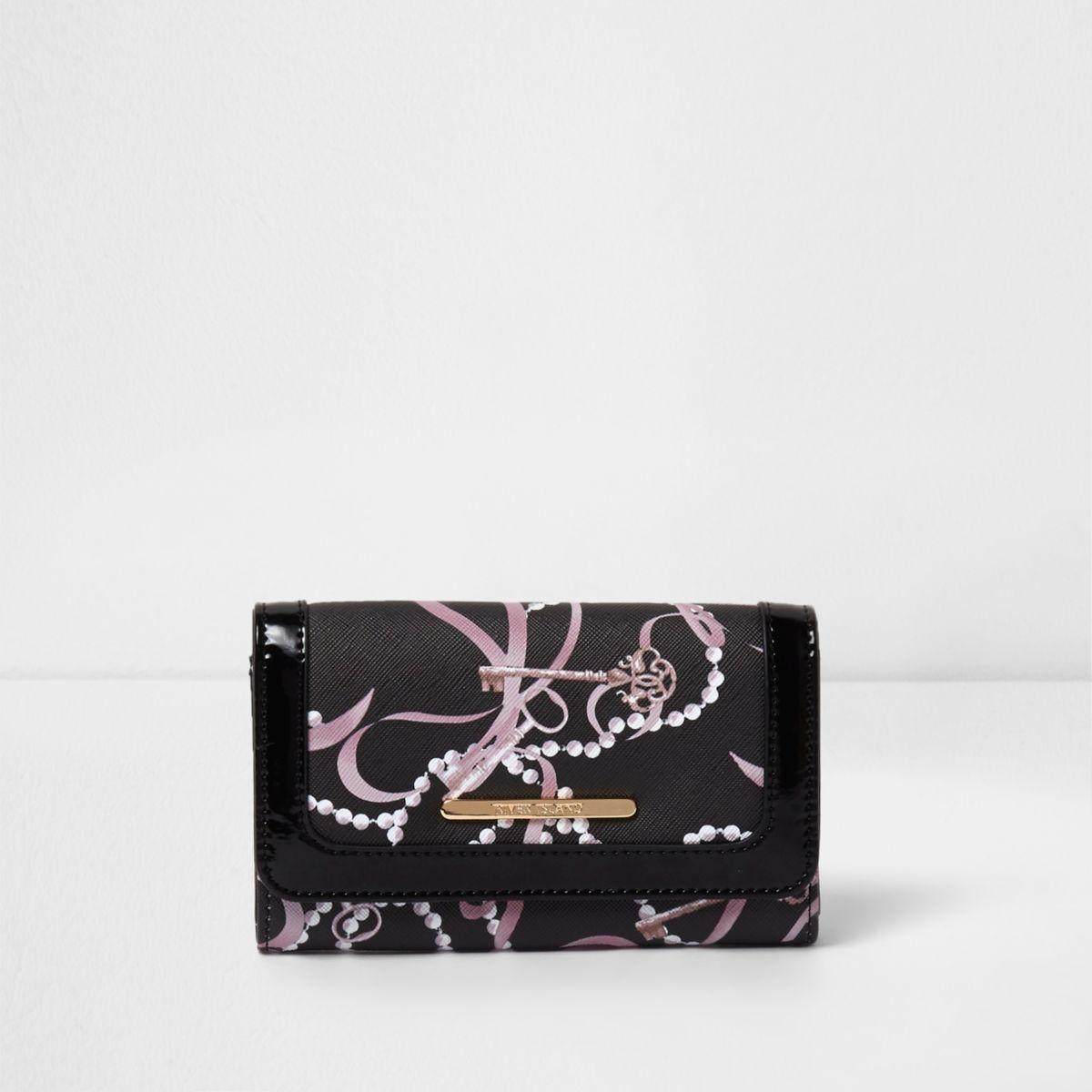 Girls black key and pearl print large purse