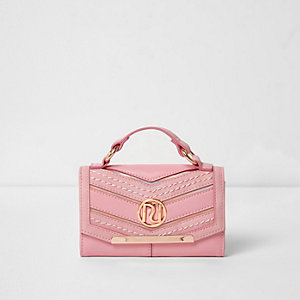 Girls pink chevron panel handle purse