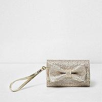 Girls gold glitter bow front foldout purse