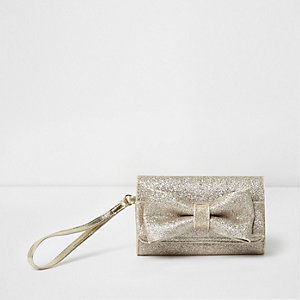 Girls gold glitter bow front foldout purse