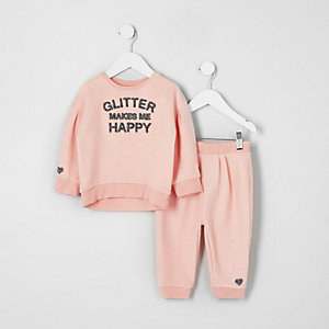 Ensemble avec sweat imprimé « glitter » rose mini fille