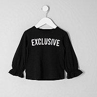 Mini girls black 'exclusive' print sweater