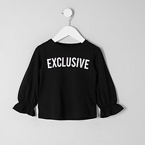 Mini girls black 'exclusive' print top