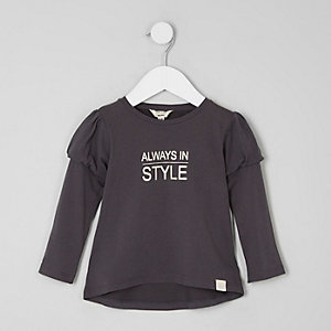 Mini girls print puff ball sleeve T-shirt