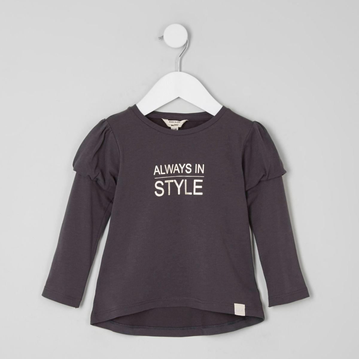 Mini girls print puff ball sleeve T-shirt
